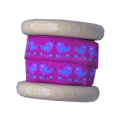 borten vogel v gel magenta lila holzspule webband borte. Black Bedroom Furniture Sets. Home Design Ideas