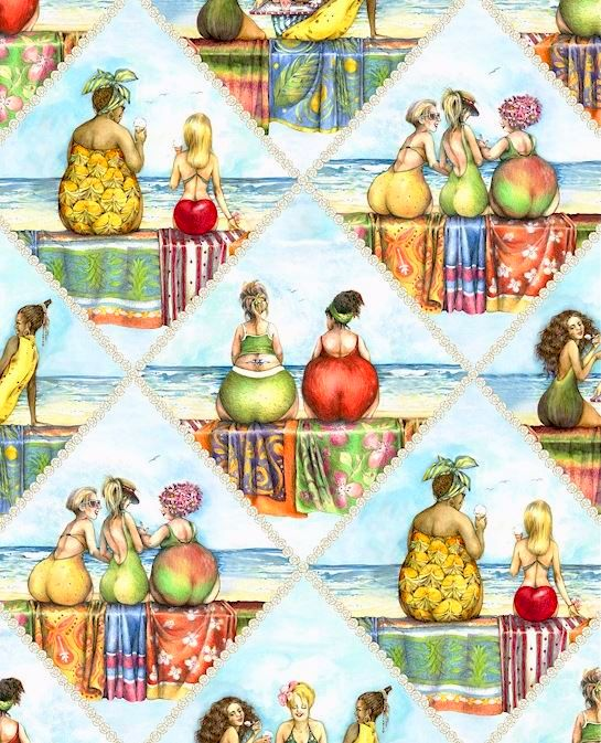 Fruit Ladies Rauten Patchworkstoff